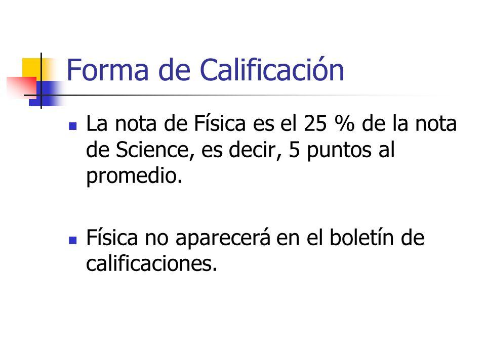 Forma de Calificación La nota de Física es el 25 % de la nota de Science, es decir, 5 puntos al promedio.
