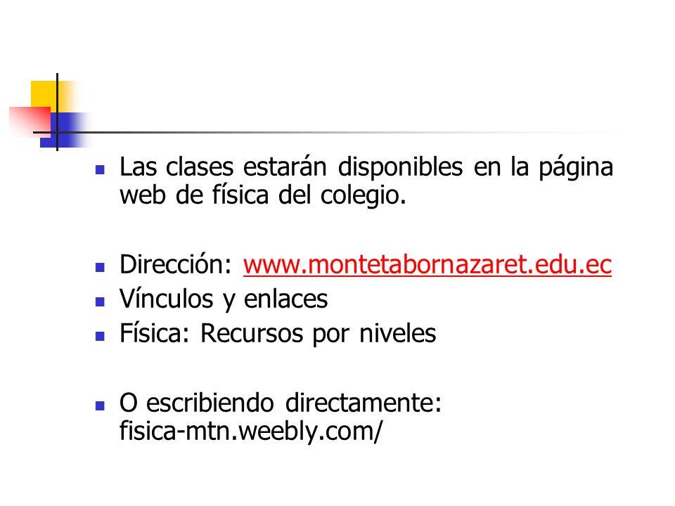 Las clases estarán disponibles en la página web de física del colegio.