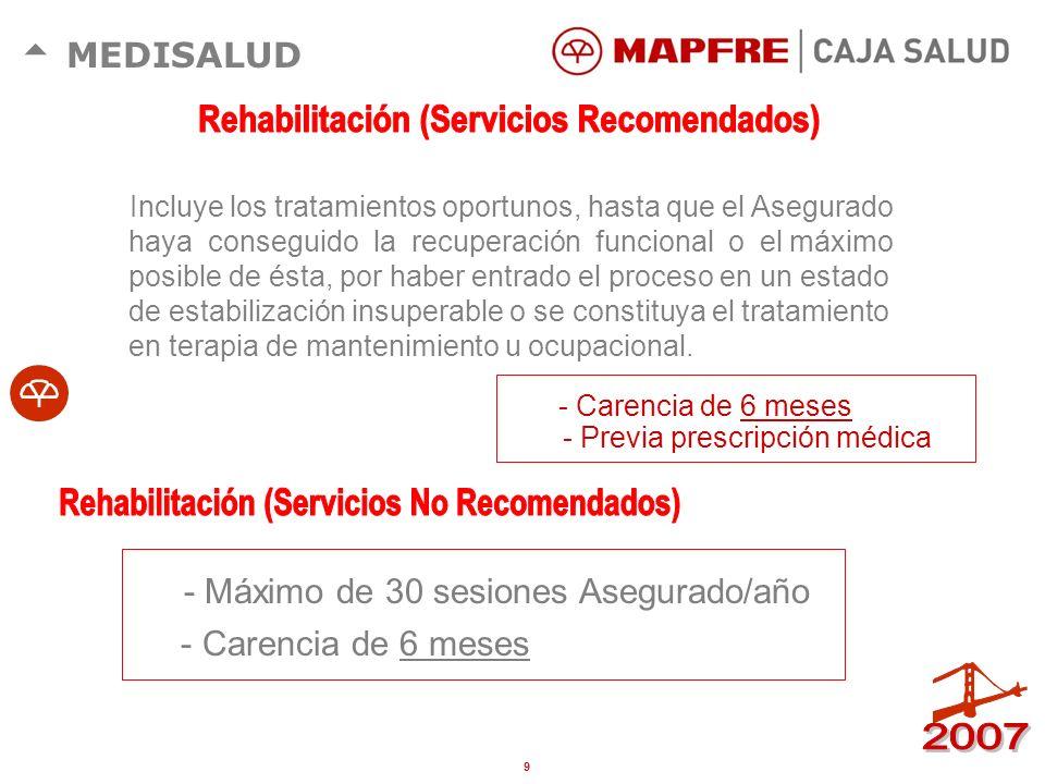 Rehabilitación (Servicios Recomendados)