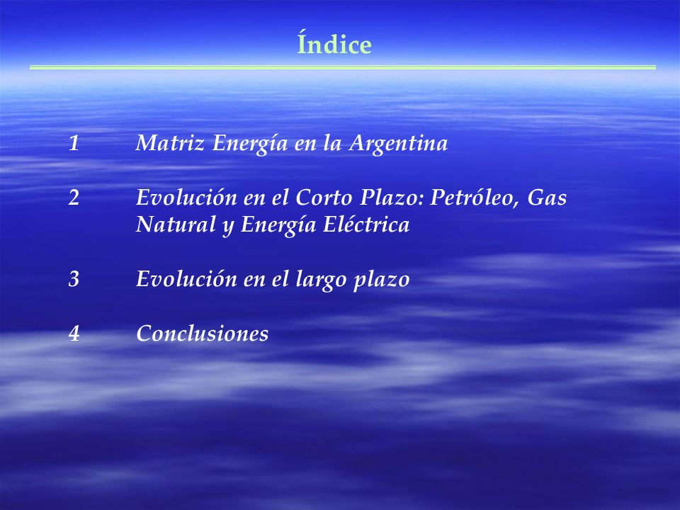Índice Matriz Energía en la Argentina