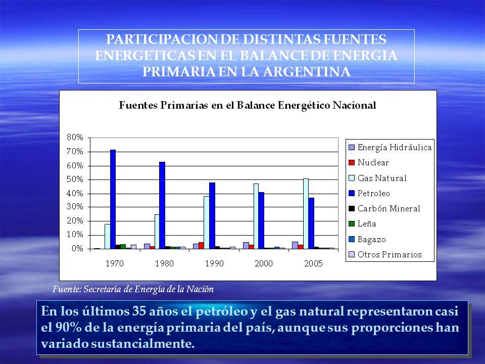 PARTICIPACION DE DISTINTAS FUENTES ENERGETICAS EN EL BALANCE DE ENERGIA PRIMARIA EN LA ARGENTINA