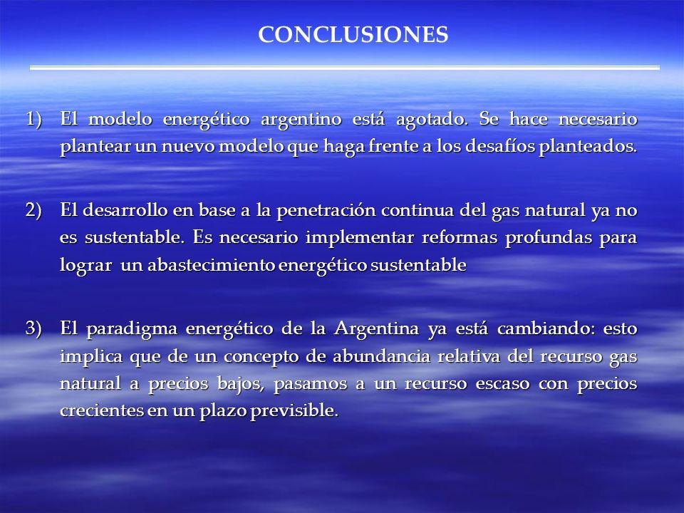 CONCLUSIONES El modelo energético argentino está agotado. Se hace necesario plantear un nuevo modelo que haga frente a los desafíos planteados.