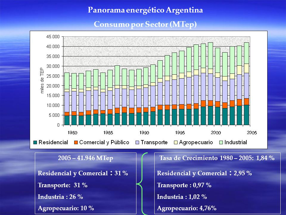 Panorama energético Argentina Consumo por Sector (MTep)