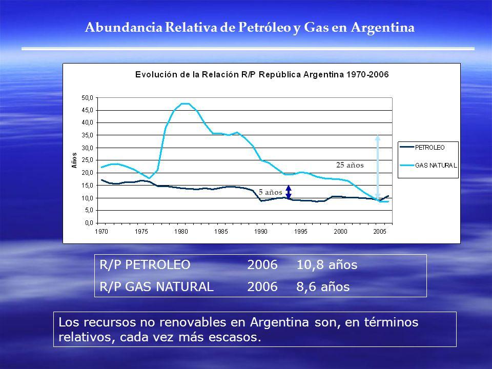 Abundancia Relativa de Petróleo y Gas en Argentina