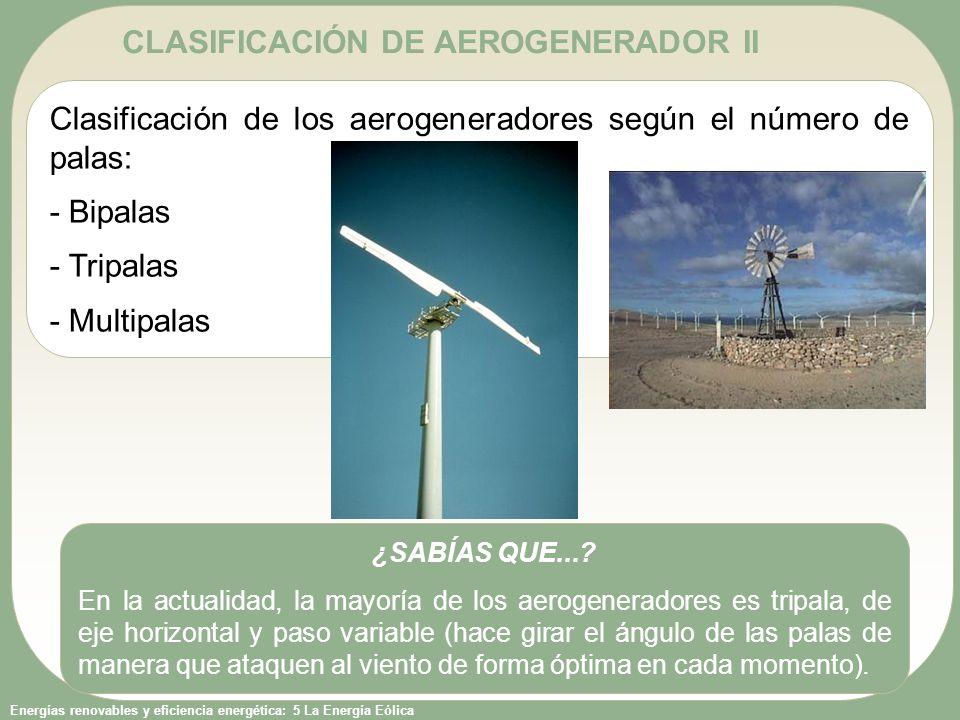 CLASIFICACIÓN DE AEROGENERADOR II
