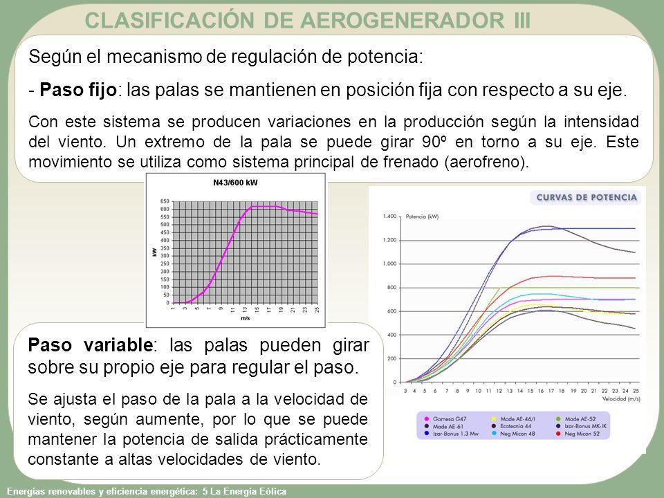 CLASIFICACIÓN DE AEROGENERADOR III