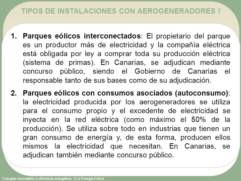 TIPOS DE INSTALACIONES CON AEROGENERADORES I