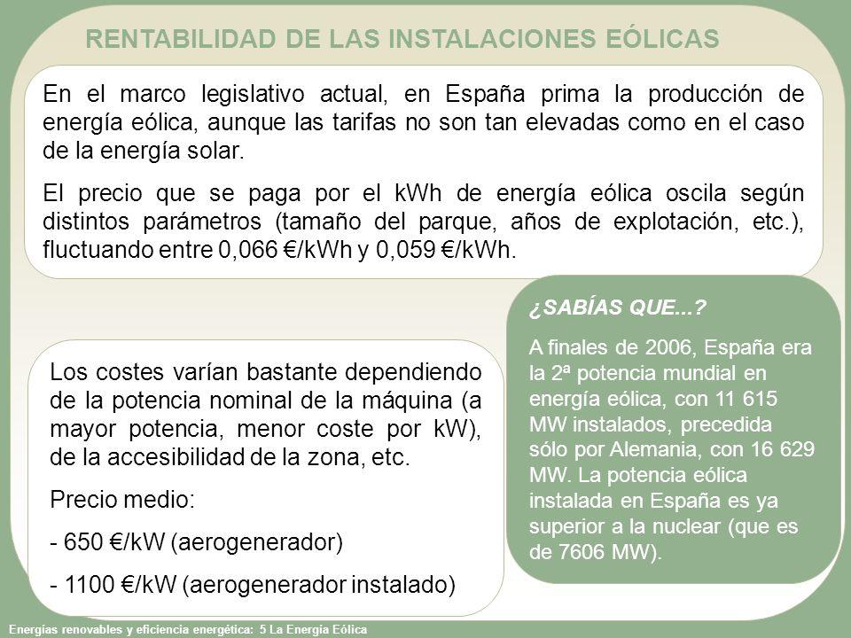 RENTABILIDAD DE LAS INSTALACIONES EÓLICAS
