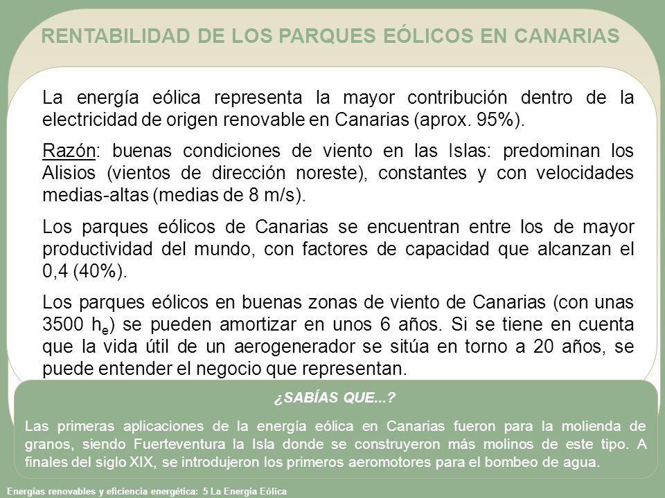 RENTABILIDAD DE LOS PARQUES EÓLICOS EN CANARIAS