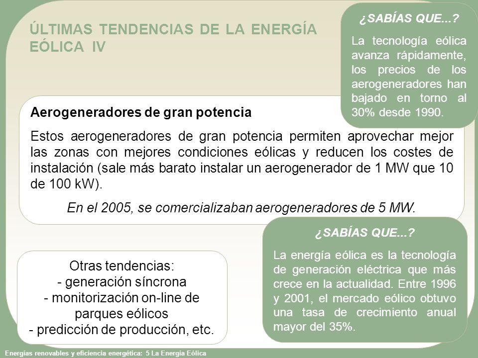 ÚLTIMAS TENDENCIAS DE LA ENERGÍA EÓLICA IV