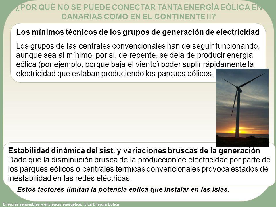 Los mínimos técnicos de los grupos de generación de electricidad