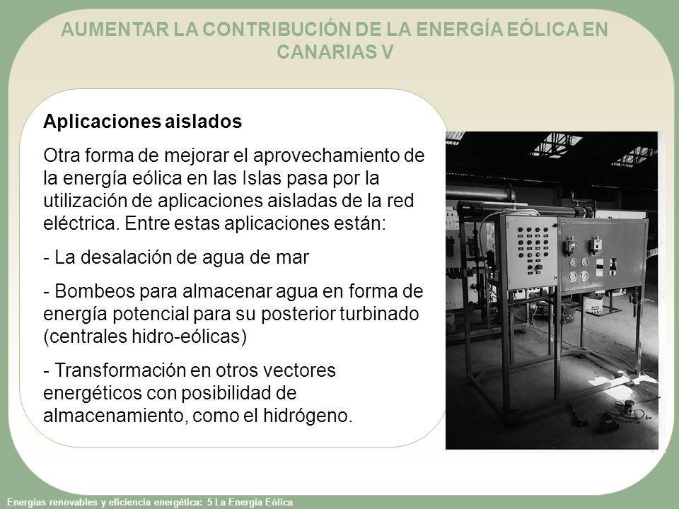 AUMENTAR LA CONTRIBUCIÓN DE LA ENERGÍA EÓLICA EN CANARIAS V