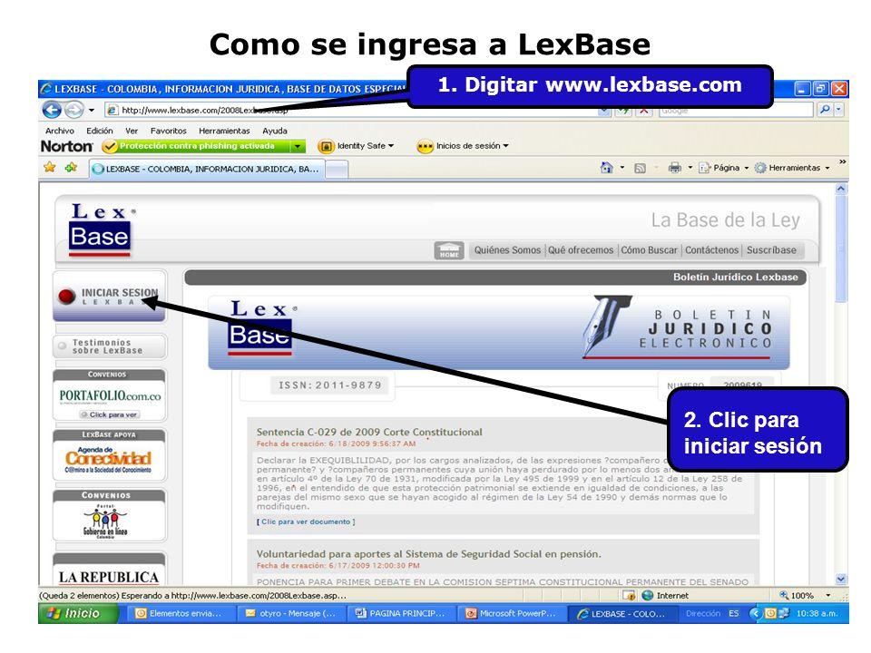 Como se ingresa a LexBase