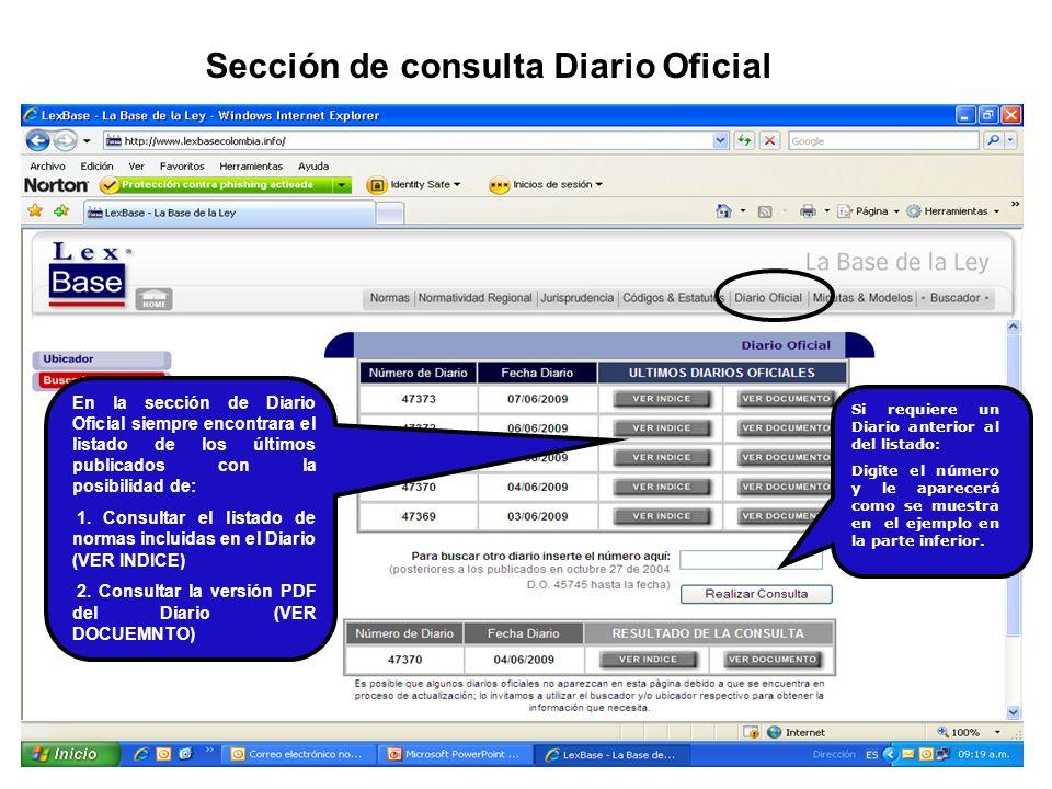 Sección de consulta Diario Oficial
