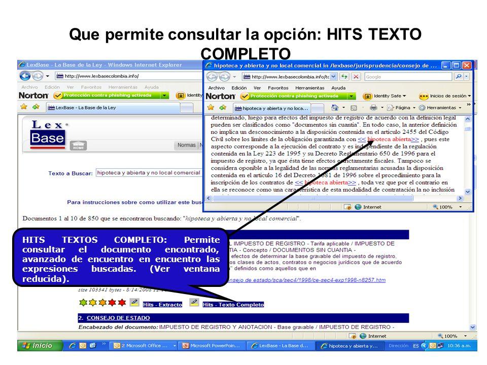 Que permite consultar la opción: HITS TEXTO COMPLETO