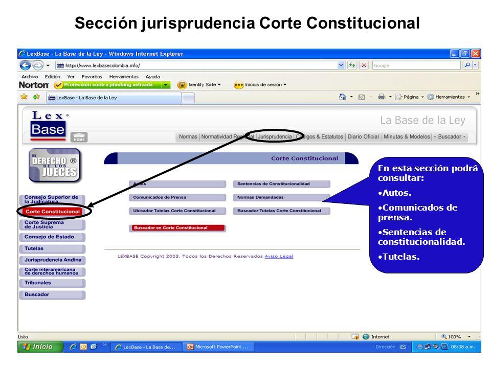 Sección jurisprudencia Corte Constitucional