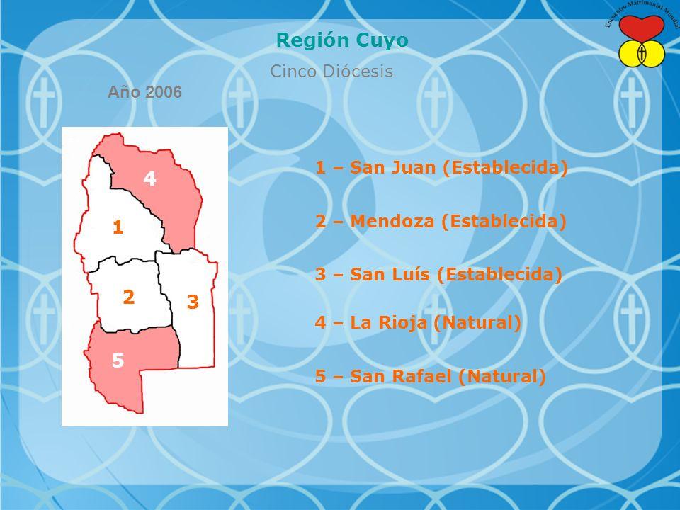 Región Cuyo 4 1 2 3 5 Cinco Diócesis Año 2006