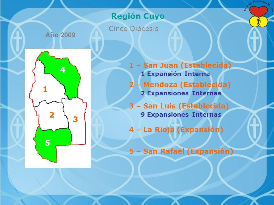 Región Cuyo 4 1 2 3 5 Cinco Diócesis Año 2009