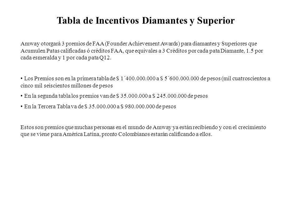 Tabla de Incentivos Diamantes y Superior