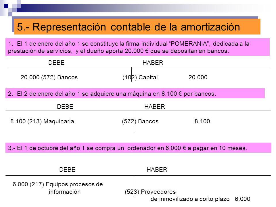 5.- Representación contable de la amortización