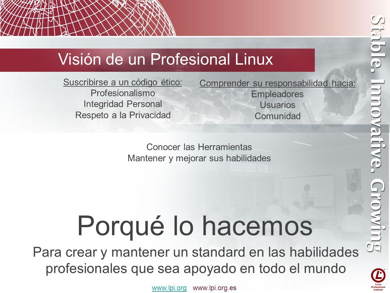Porqué lo hacemos Visión de un Profesional Linux