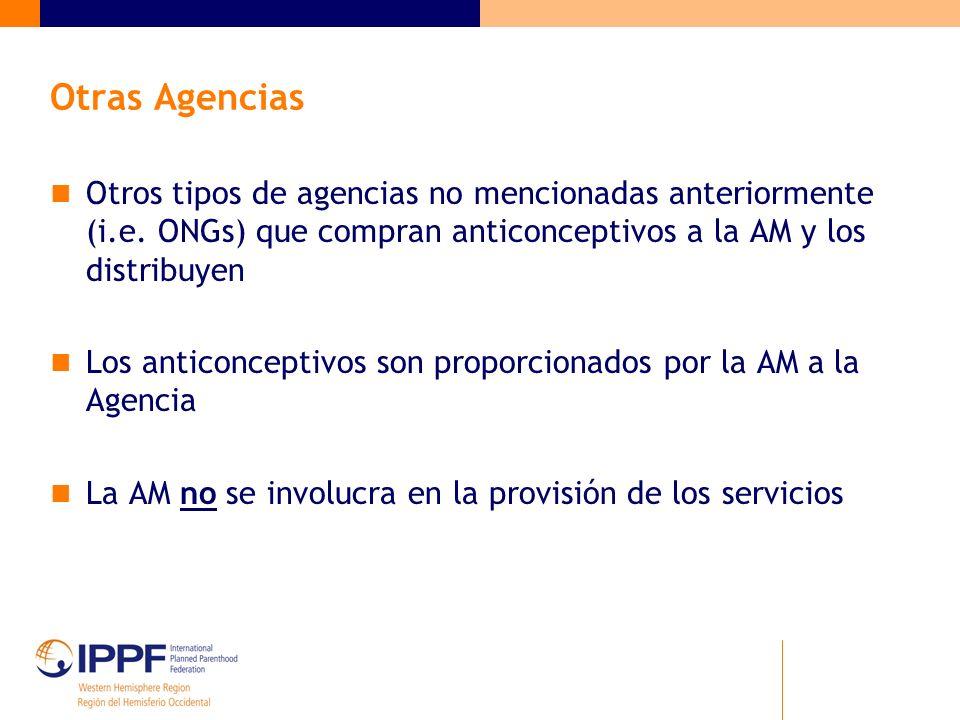 Otras Agencias Otros tipos de agencias no mencionadas anteriormente (i.e. ONGs) que compran anticonceptivos a la AM y los distribuyen.