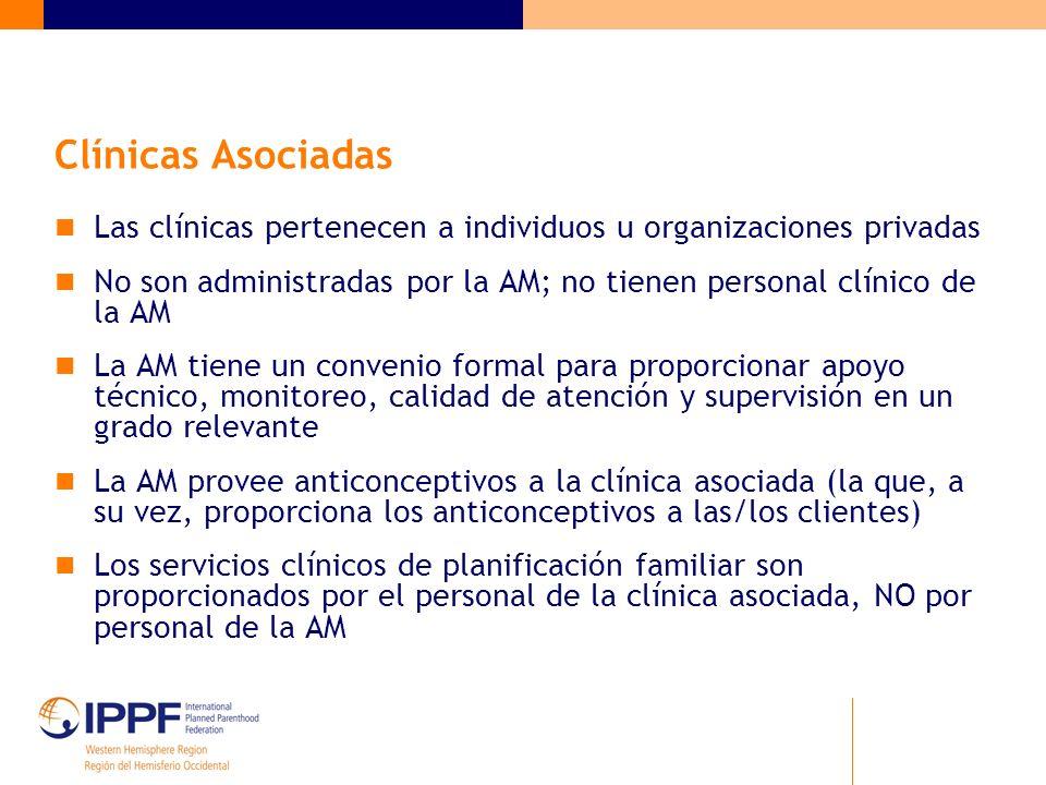 Clínicas Asociadas Las clínicas pertenecen a individuos u organizaciones privadas.