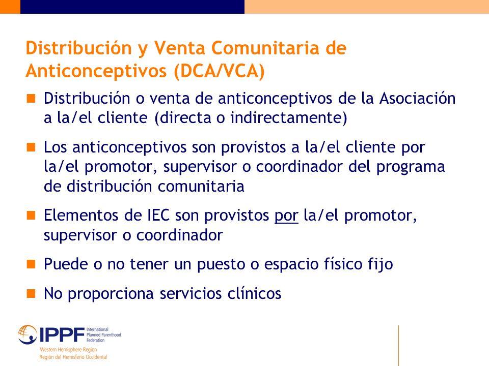 Distribución y Venta Comunitaria de Anticonceptivos (DCA/VCA)