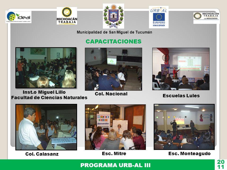 CAPACITACIONES 20 PROGRAMA URB-AL III 11 Inst.o Miguel Lillo