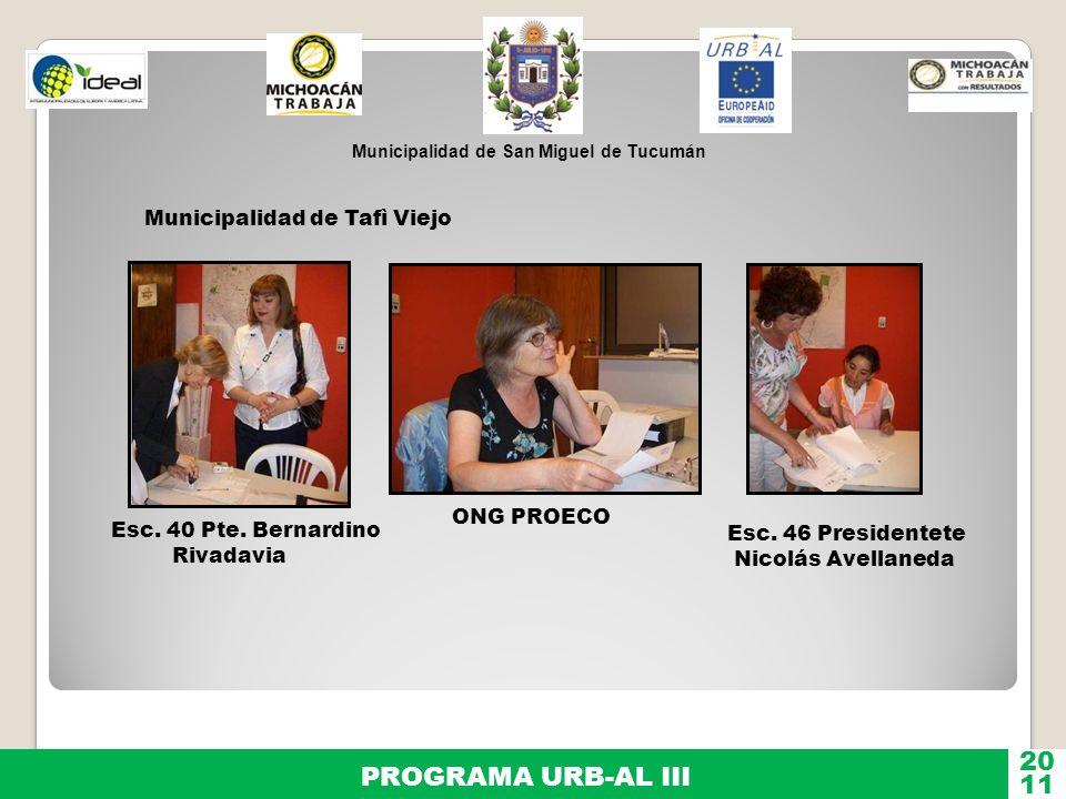 20 PROGRAMA URB-AL III 11 Municipalidad de Tafì Viejo ONG PROECO