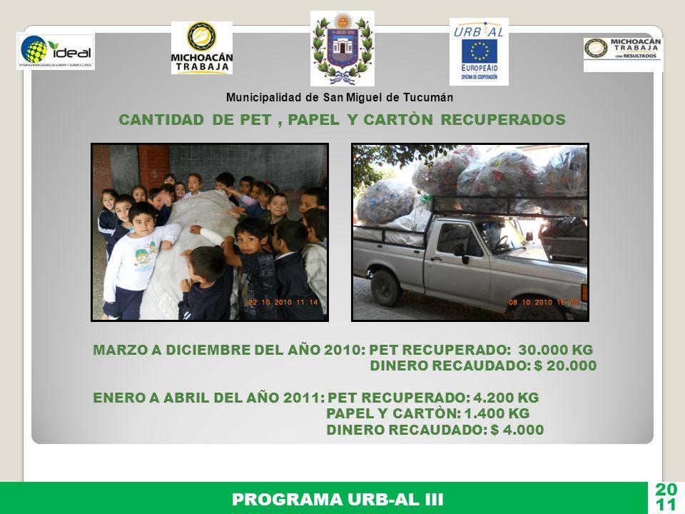 20 PROGRAMA URB-AL III 11 CANTIDAD DE PET , PAPEL Y CARTÒN RECUPERADOS