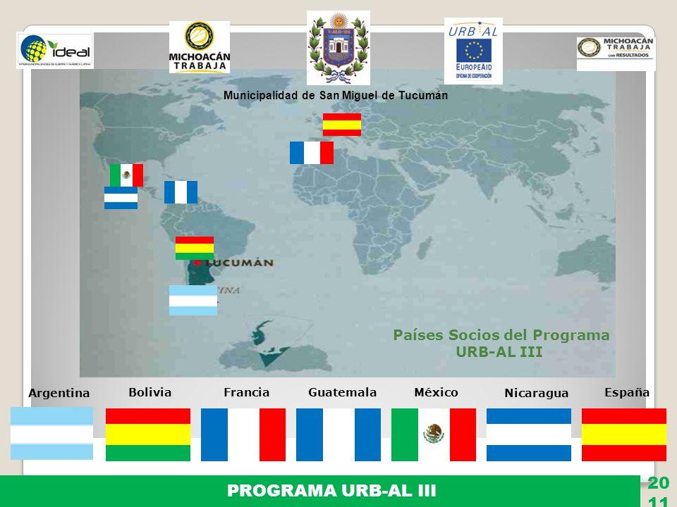 20 PROGRAMA URB-AL III 11 Países Socios del Programa URB-AL III