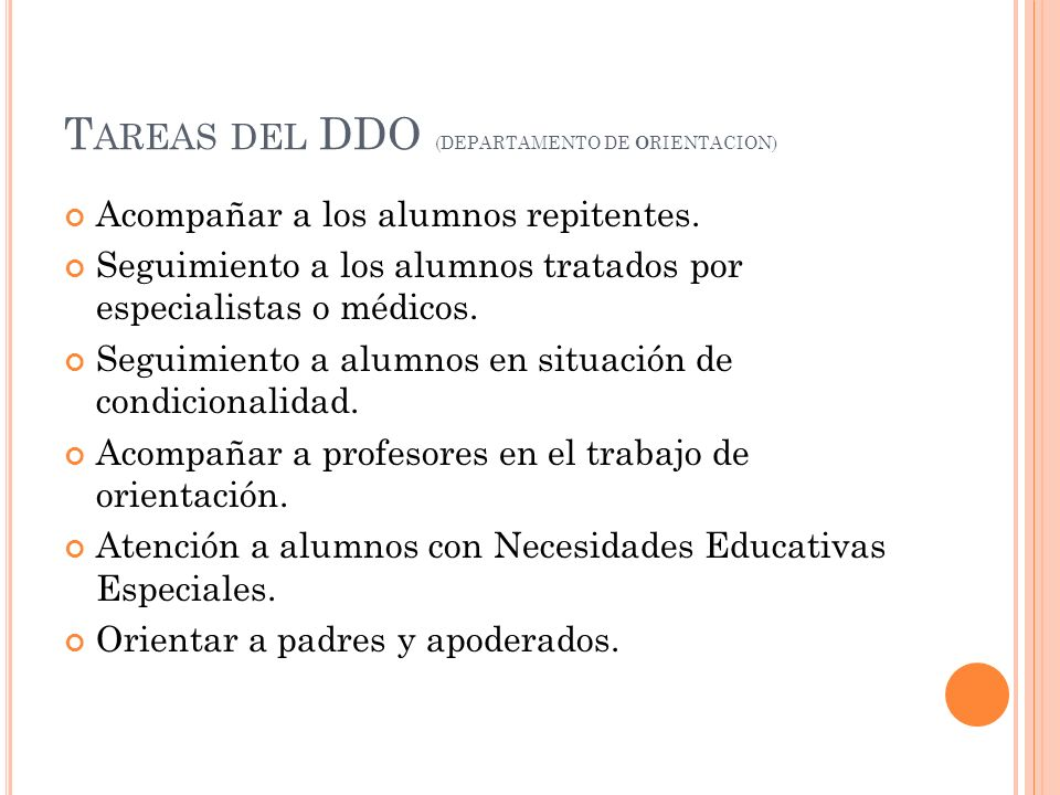 Tareas del DDO (DEPARTAMENTO DE ORIENTACION)