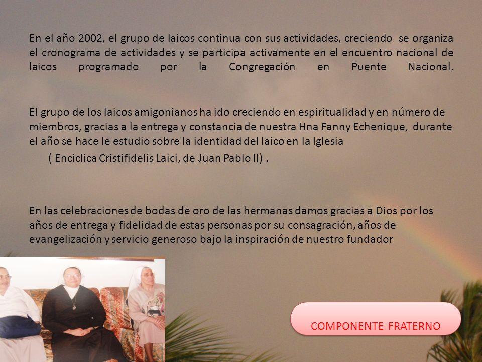 En el año 2002, el grupo de laicos continua con sus actividades, creciendo se organiza el cronograma de actividades y se participa activamente en el encuentro nacional de laicos programado por la Congregación en Puente Nacional.