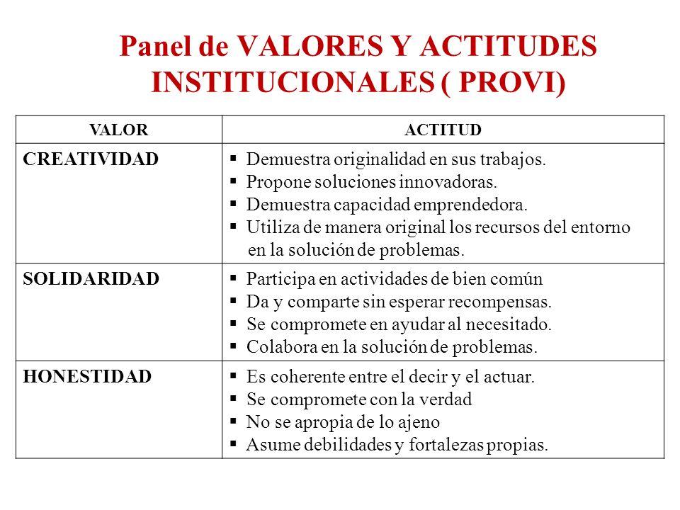 Panel de VALORES Y ACTITUDES INSTITUCIONALES ( PROVI)