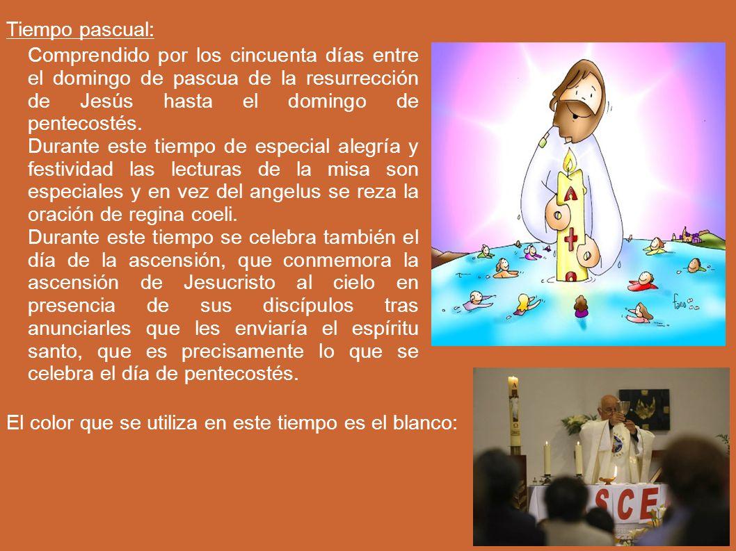 Tiempo pascual: Comprendido por los cincuenta días entre el domingo de pascua de la resurrección de Jesús hasta el domingo de pentecostés.