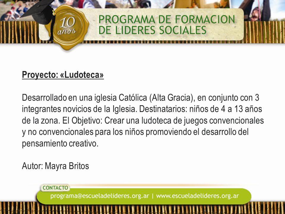 Proyecto: «Ludoteca» Desarrollado en una iglesia Católica (Alta Gracia), en conjunto con 3 integrantes novicios de la Iglesia.