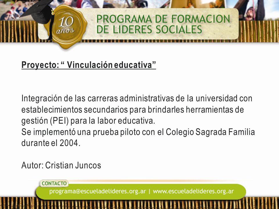 Proyecto: Vinculación educativa Integración de las carreras administrativas de la universidad con establecimientos secundarios para brindarles herramientas de gestión (PEI) para la labor educativa.