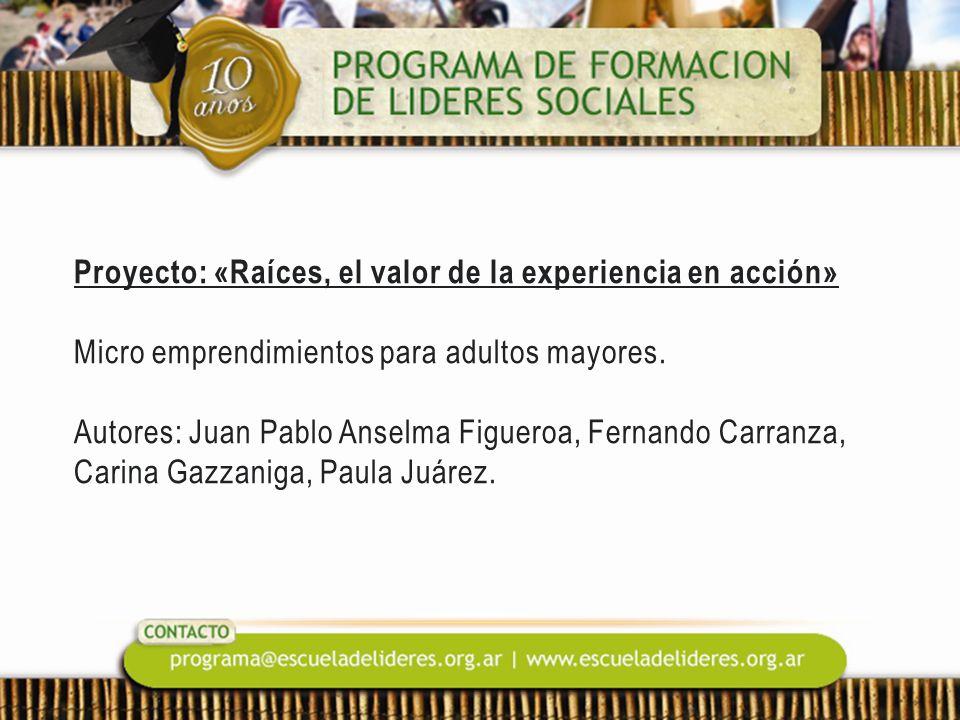 Proyecto: «Raíces, el valor de la experiencia en acción» Micro emprendimientos para adultos mayores.