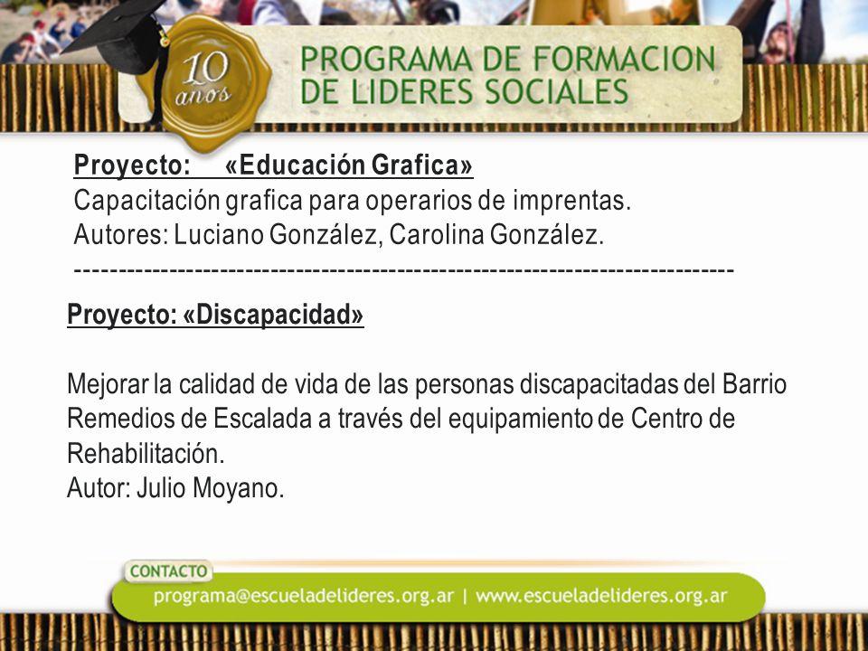 Proyecto: «Educación Grafica» Capacitación grafica para operarios de imprentas. Autores: Luciano González, Carolina González. ------------------------------------------------------------------------------