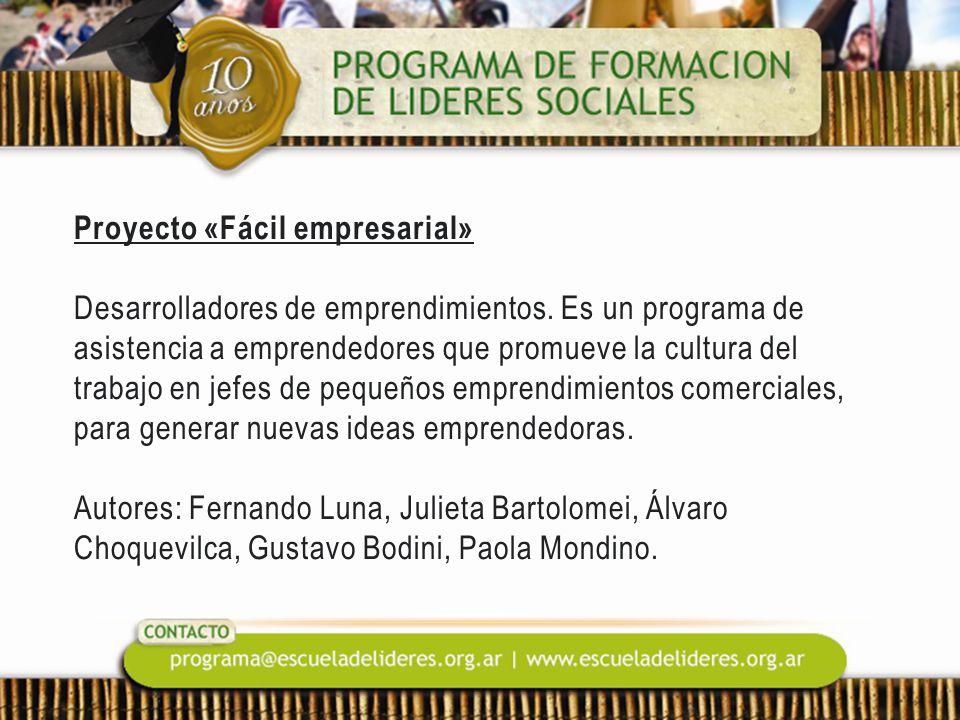 Proyecto «Fácil empresarial» Desarrolladores de emprendimientos