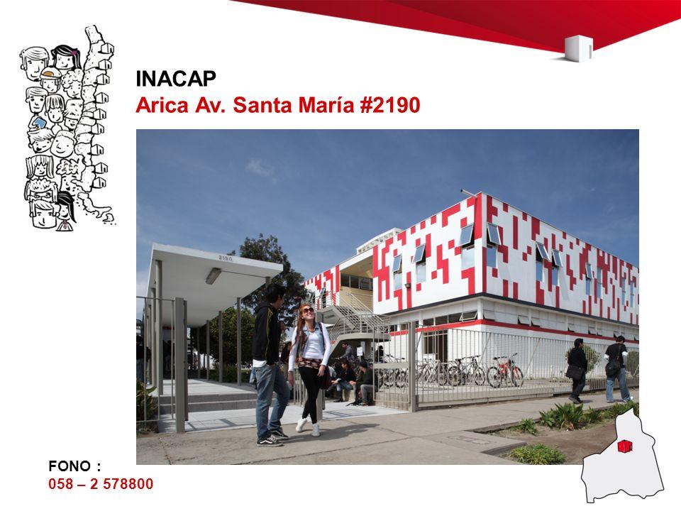 INACAP Arica Av. Santa María #2190 FONO : 058 – 2 578800