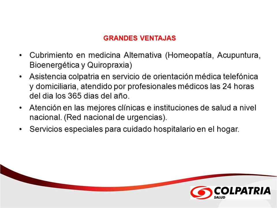 Servicios especiales para cuidado hospitalario en el hogar.