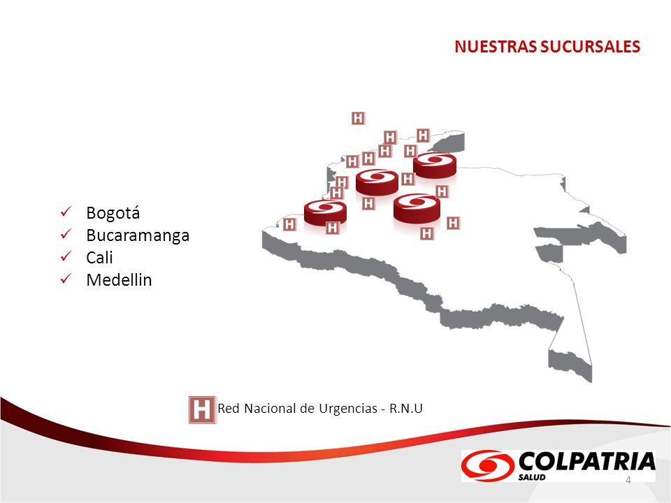 NUESTRAS SUCURSALES Bogotá Bucaramanga Cali Medellin
