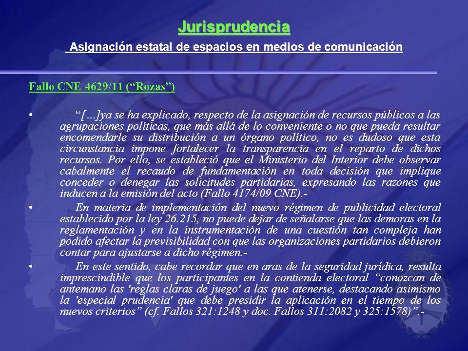 Jurisprudencia Asignación estatal de espacios en medios de comunicación