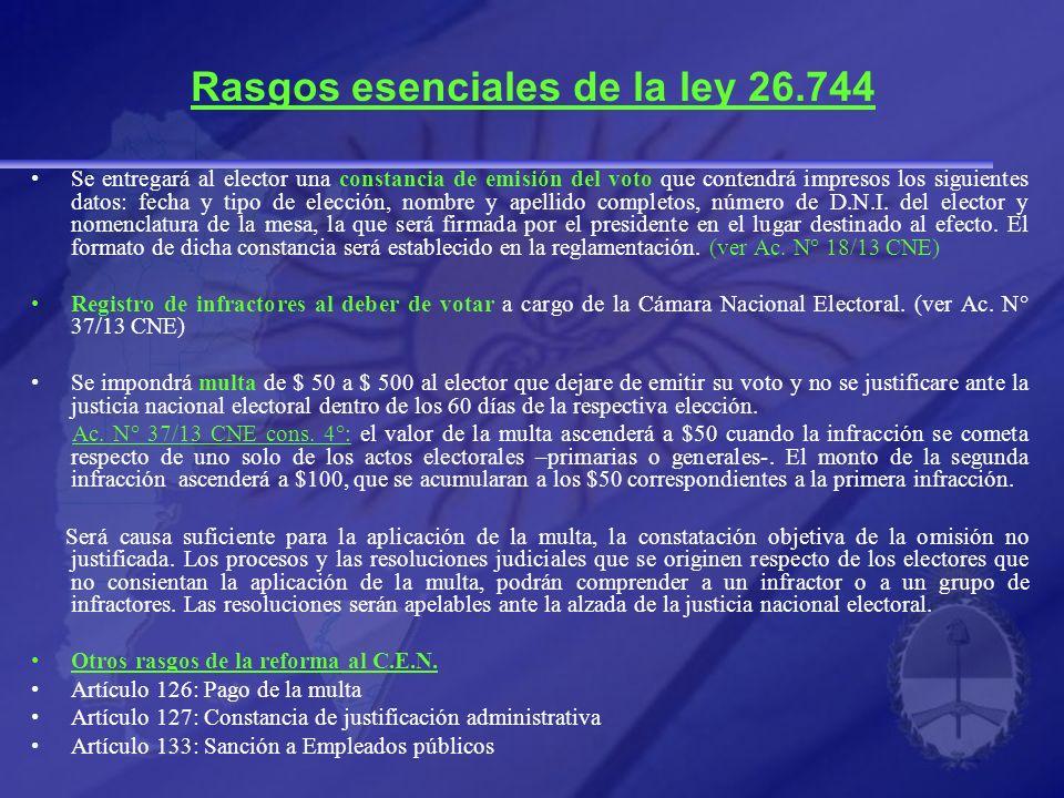 Rasgos esenciales de la ley 26.744