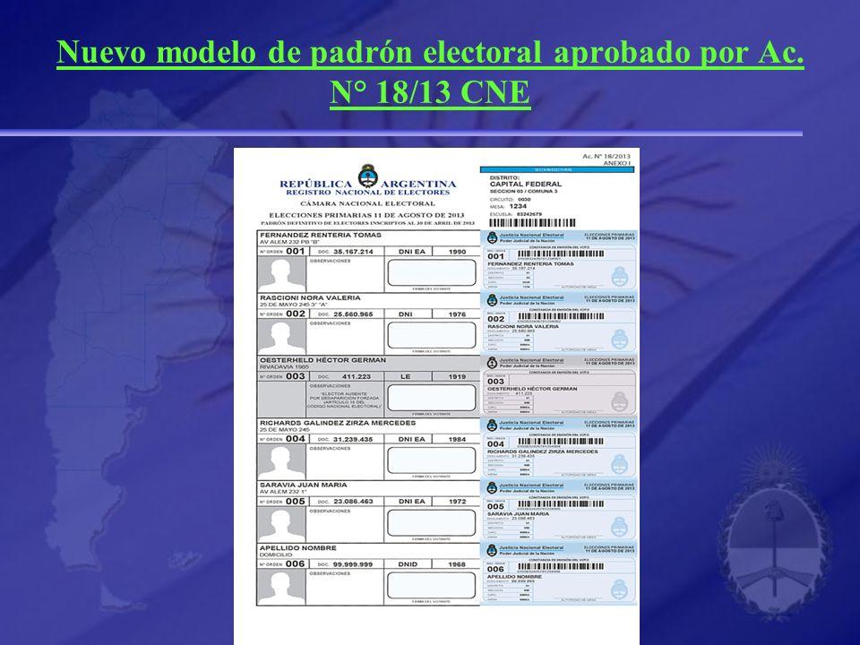 Nuevo modelo de padrón electoral aprobado por Ac. N° 18/13 CNE