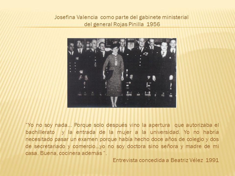 Josefina Valencia como parte del gabinete ministerial