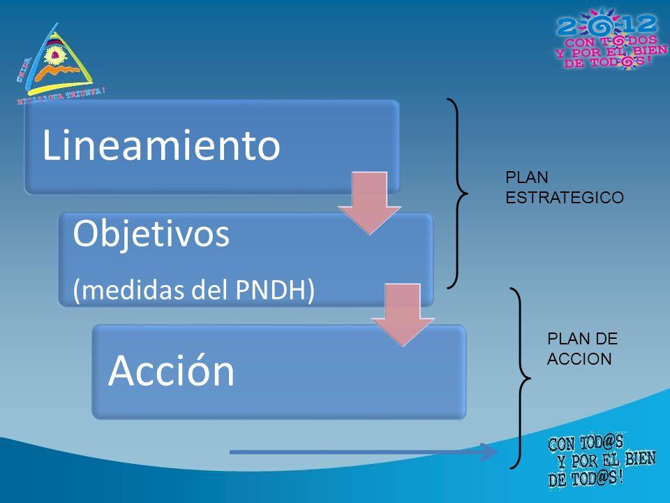 Lineamiento Acción Objetivos (medidas del PNDH) PLAN ESTRATEGICO