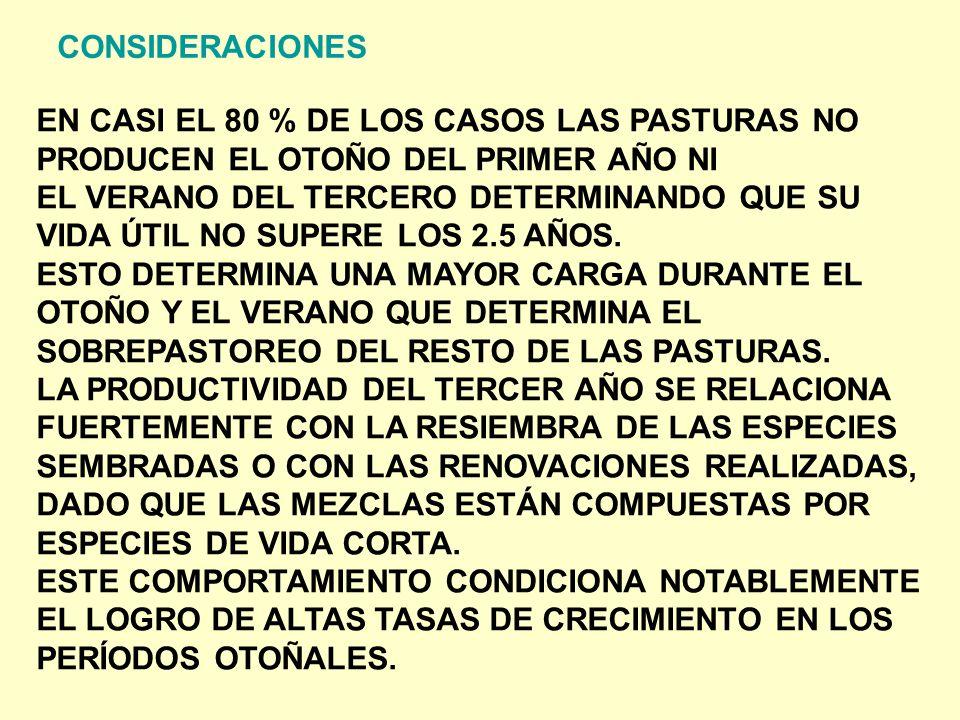 CONSIDERACIONES EN CASI EL 80 % DE LOS CASOS LAS PASTURAS NO. PRODUCEN EL OTOÑO DEL PRIMER AÑO NI.